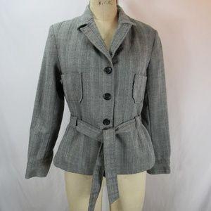 Harve Benard Gray Wool Belted Blazer Coat